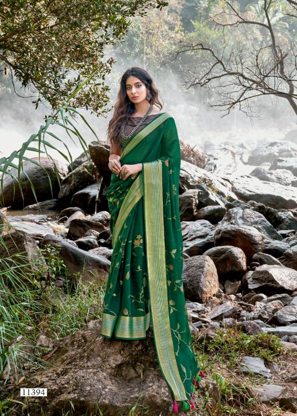 TRIVENI UPASANA Fancy Heavy Designer Festive Wear Cotton Linen Printed Saree Collection