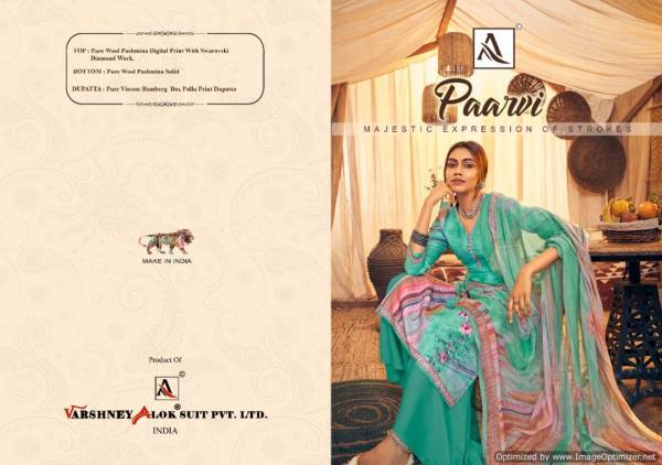 Alok Paarvi Latest Designer Pure Pashmina Digital Printed With  Swarovski Diamond Work  Dress Material Collection