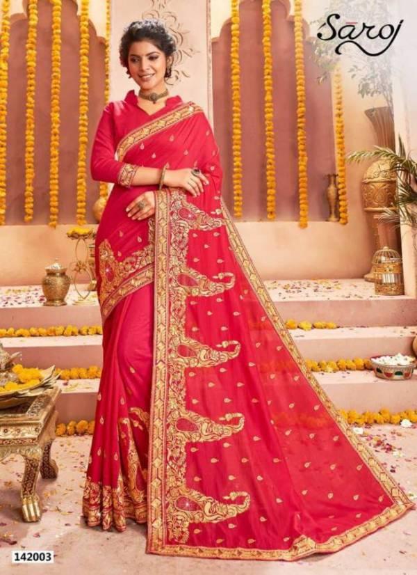 Saroj Rajdhani Latest Designer Heavy Embroidered Wedding Wear Vichitra Silk Saree Collection