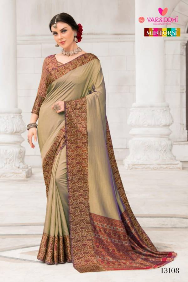 Mintorsi Designer Printed Border Silk Partywear Sarees Collection