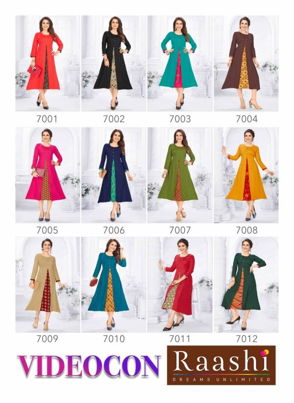 Rashi Videocon Latest Casual Wear A Line Designer Heavy Rayon Kurti Collection