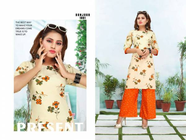 Ft Bonjour Latest Fancy Regular Wear Rayon Printed Kurti With Bottom Collection