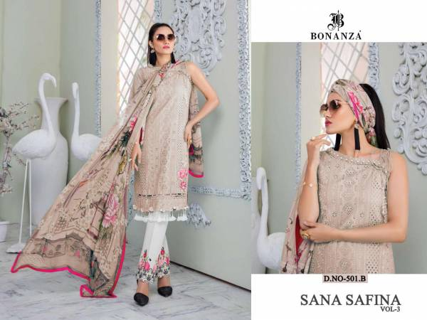 Sana safinaz Vol-3 Lawn Cotton Heavy & Sifli (Chikan Work) with Embroidery Work with Patch Work Pakistani Collections