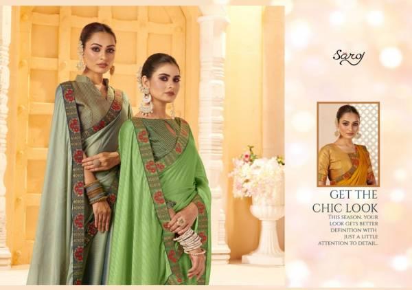 Saroj Parineeta Georgette With Satin Embroidery Festive Wear Latest Designer Saree Collection