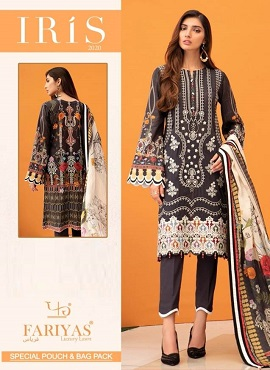 Fariyas Iris 2020 Latest Designer Pure Lawn Cotton Printed Karachi Dress Material Collection