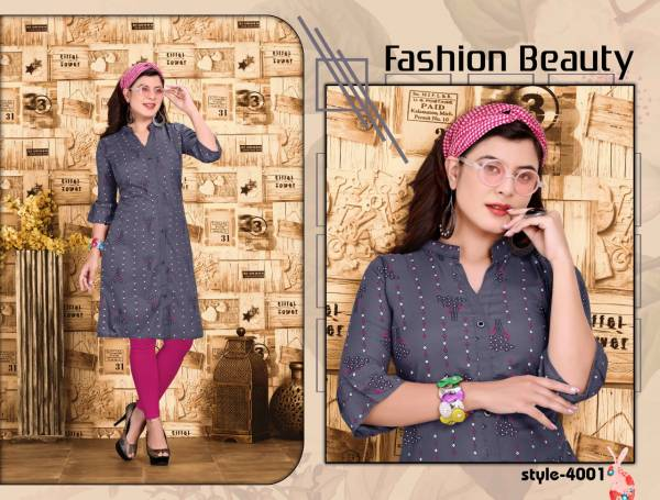 Heaven 4 Casual Regular Wear Rayon Printed Kurti Collection