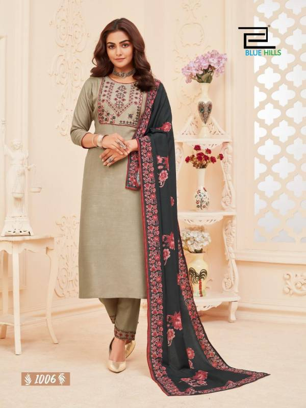 Blue Hills Dupatta Queen 1 Latest Designer Fancy Festive Wear Rayon Embroidery Work And Silai Pattern Readymade Collection