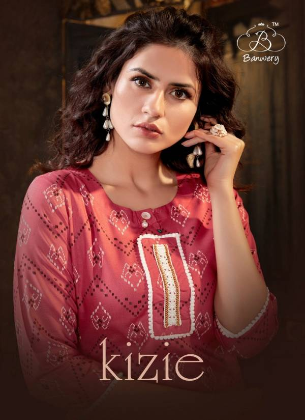 BANWERY KIZIE Latest fancy Ethnic Wear Heavy Rayon Print With Pum Pum Lace Border Kurtis Collection