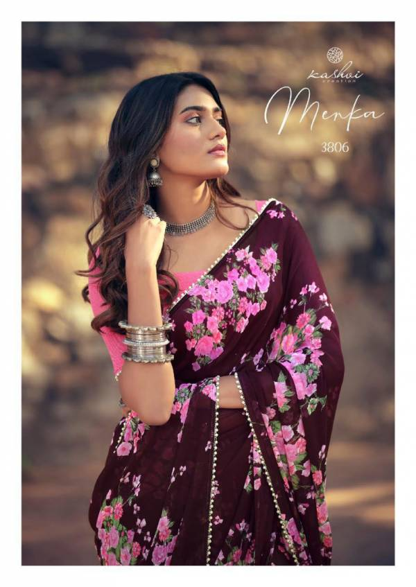 Kashvi Menka Latest Fancy Designer Festive Wear Silk Weightless Floral Chiffon Saree Collection