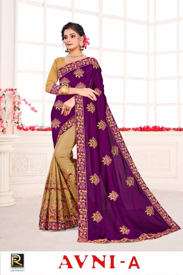Ronisha Avni Latest Heavy Embroidery Worked Designer Festival Wear Vichitra Silk Saree Collection