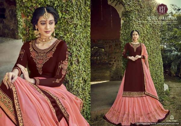Rsf Rajjo Latest Designer Party Wear Wedding Ghaghra Style Suit Collection With Heavy Work and Soft Chinon Silk Dupatta With Four Side Embroidery Lace