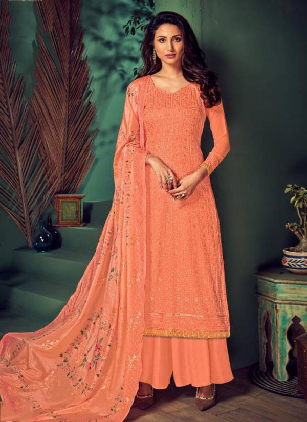 Gold Pure Georgette With Heavy Embroidery Lucknowi Work Plazzo Salwar Suit Collection 13501-13506