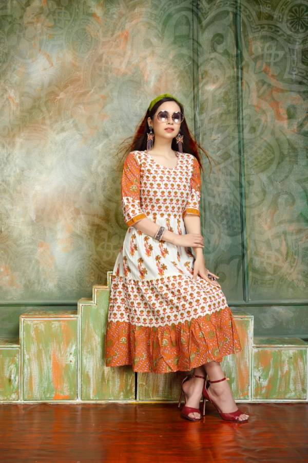 GAGRI STYLE Fancy Casual Wear Rayon Prints Flair Kurtis Collection