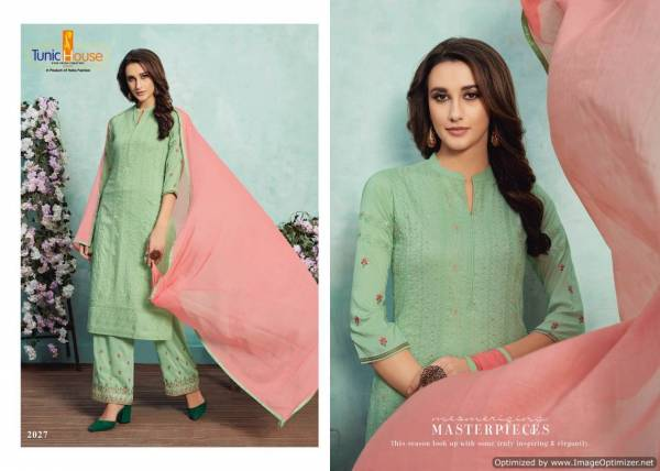 Tunic House Nelly Lucknowi Stylish Chinon Soft Silk With Embroidery Work Salwar Suit Collection