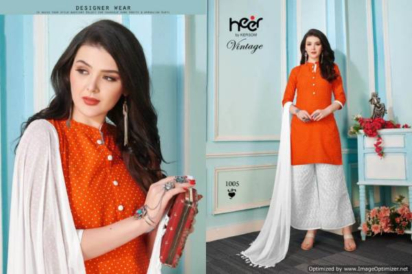 Heer Vintage New Designer Ready Made Plazzo Suit Collection With Chiffon Dupatta