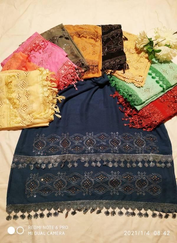Multi Hijab 12 Latest Designer Lace Work Hosiery Cotton Hijab Collection