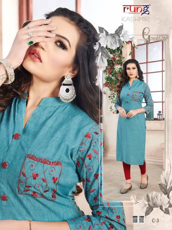 RUNG KASHMIRI Latest Fancy Regular Wear Heavy Luxuriya Rayon  With Manual Embroidery work Kurtis Collection