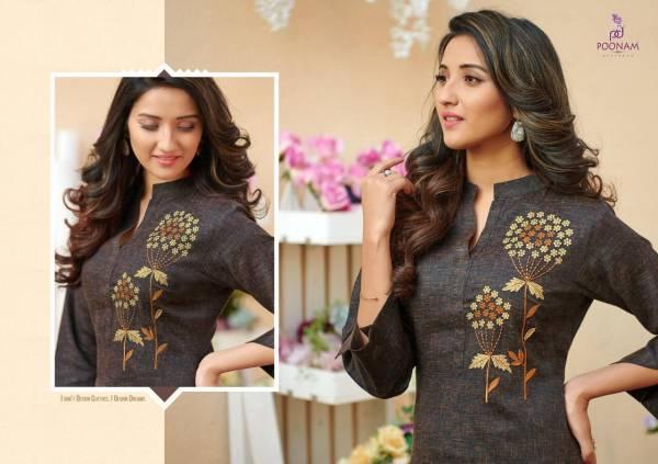 Poonam  Designer Two Ton Cotton Slub With  Classic Embroidery Designer Kurtis