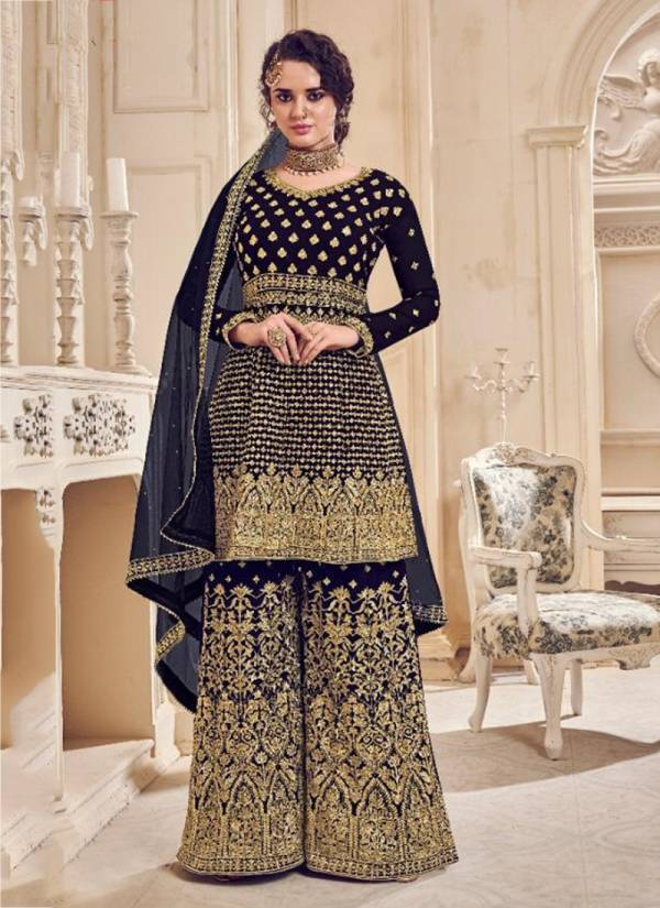 Malang Georgette Heavy Embroidered wedding Designer Plazzo Suit Collection 1001A-1001D