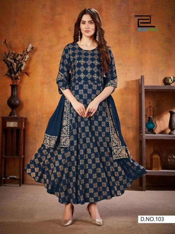 Blue Hilss Soul Mate 3 Rayon Festive Wear Long Kurti With Dupatta Collection
