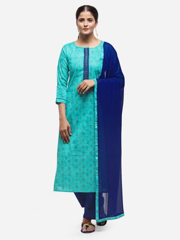 Cotton Weaving Jacquard Naneen with Four Side Less Daily Wear Simple Salwar Suit Collections