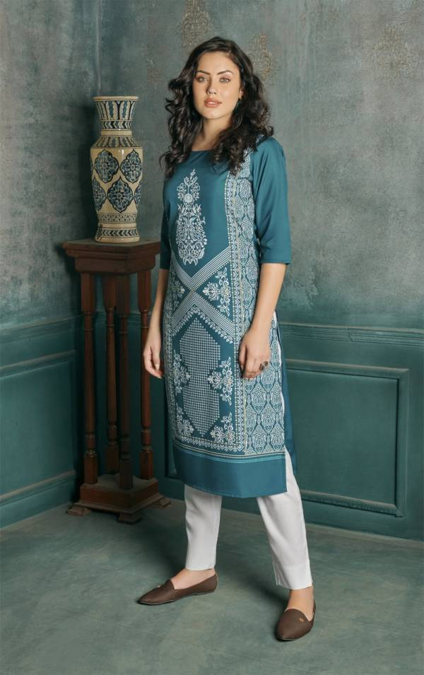 Feel Vol 2 Latest Designer Casual Wear Leather Feel Heavy Crepe Printed Kurtis Collection
