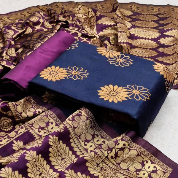 Blooming Blue Designer Fancy Latest Designer Casual Wear Banrasi Silk Dress Material Collection