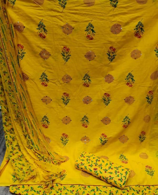 Pure Cotton Designer Latest Mirror Work With Printed Chiffon Dupatta Dress Material Collection