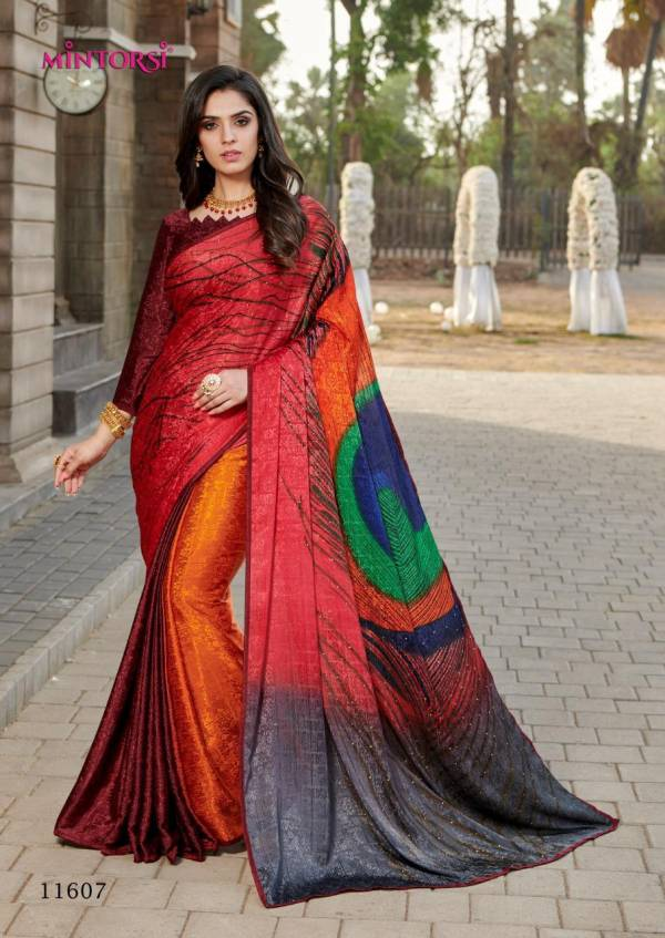 Mintorsi Designer Hand Print Peacock Sarees Silk Crape Jacquard with lace Piping and Diamond Stone Work Saree Collections
