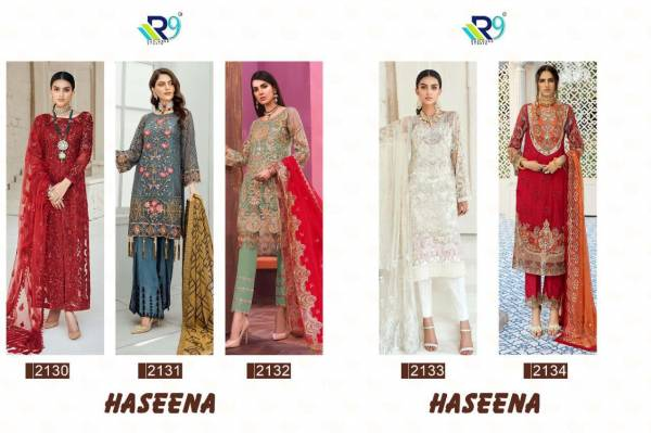 R9 Haseena Latest Designer Collection Of Faux Georgette Pakistani Salwar Suit With Embroidery Work And Handwork