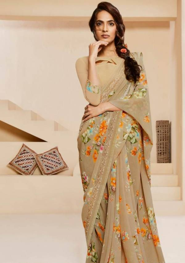 Shangrila Kamini Vol-14 Launch Latest Designer Daily Wear Georgette Saree With Kalakari Border