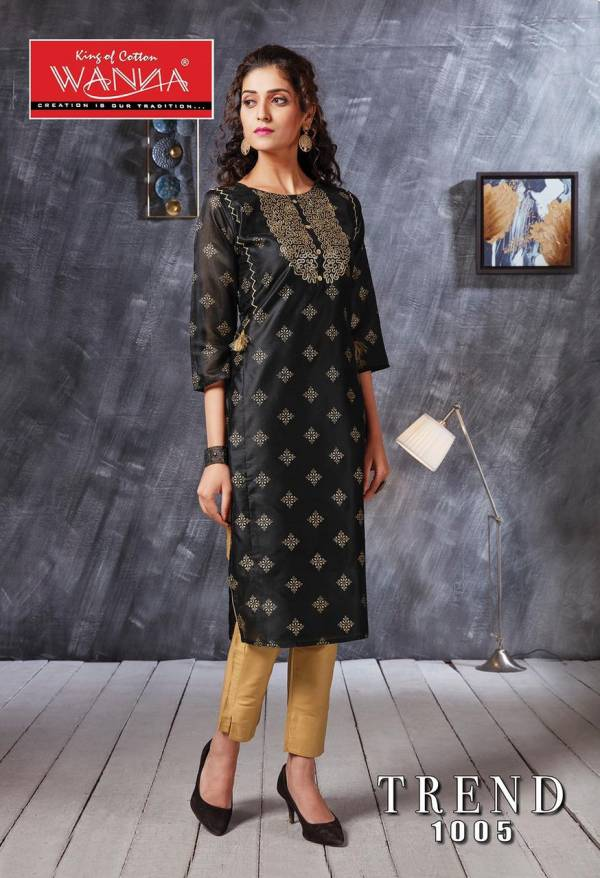 Wanna Trend Designer Latest Fancy Ethnic Wear Kurti With Jam Stain Pant Bottom Collection