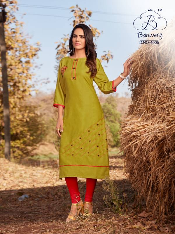 BLEND V-4 DESIGNER HEAVY PREMIUM COTTON WITH EMBROIDERY WORK THREE FOURTH SLEEVES KURTI COLLECTION