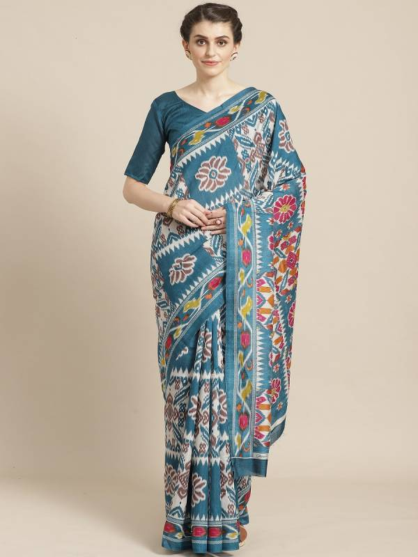 Womaniya 13 Colors Latest Designer Printed Silk Casual Wear Sarees Collection