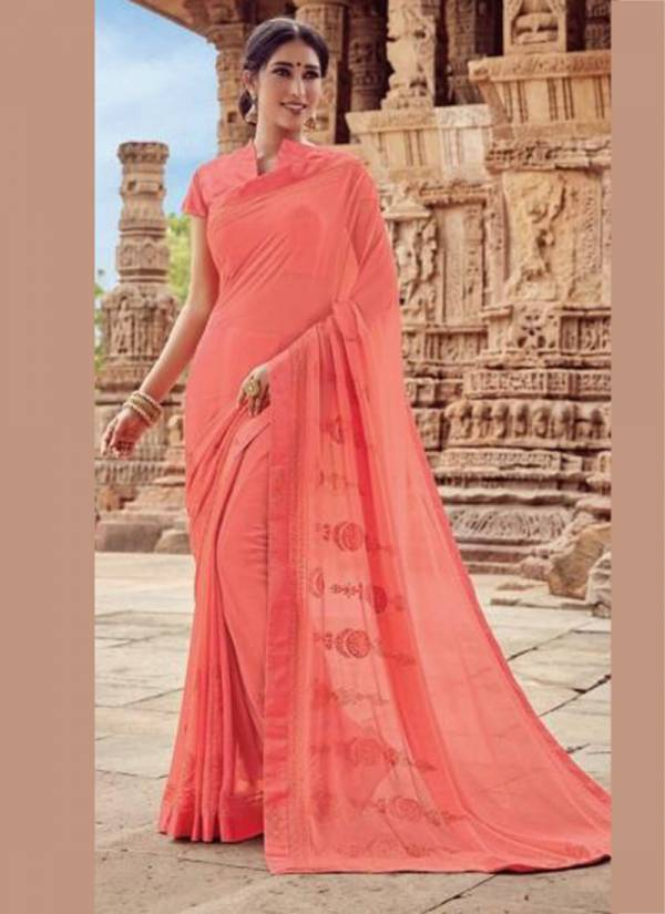 Qiyara Party Wear Georgette Sarees Collection With Embroidery Work