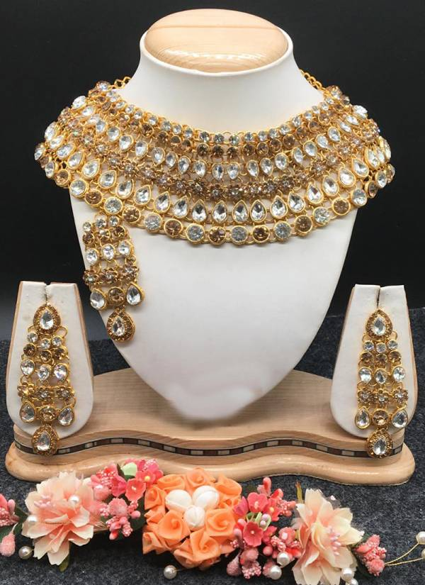 Gold and Silver Latest Heavy Fancy Bridal Pearl Necklace
