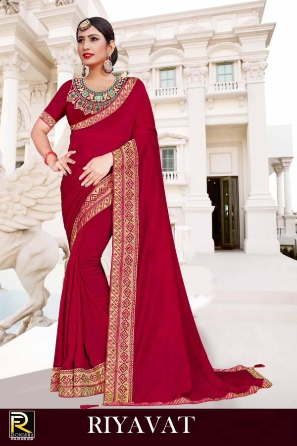 Ronisha Rivayat Fancy Designer Festive Wear Vichitra Silk Saree collection