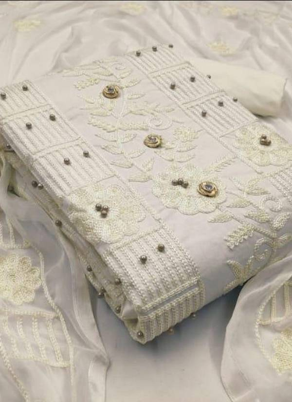 New Design Embroidery Worked Cotton Dress Material Collection