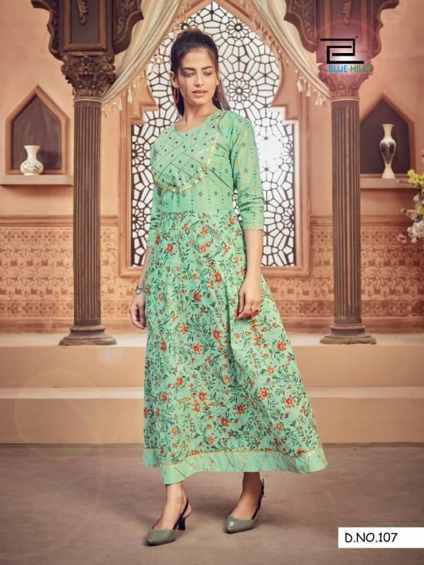 Blue Hills Ada 1 Designer Ethnic Wear Cotton Anarkali Long Kurti Collection