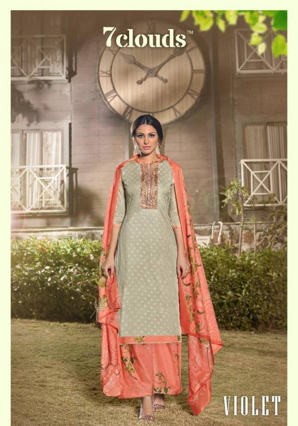 7 Clouds Utsav Pure Zam  Print With Neck Embroidery and Diamond Work Plazzo Salwar Suit Collections