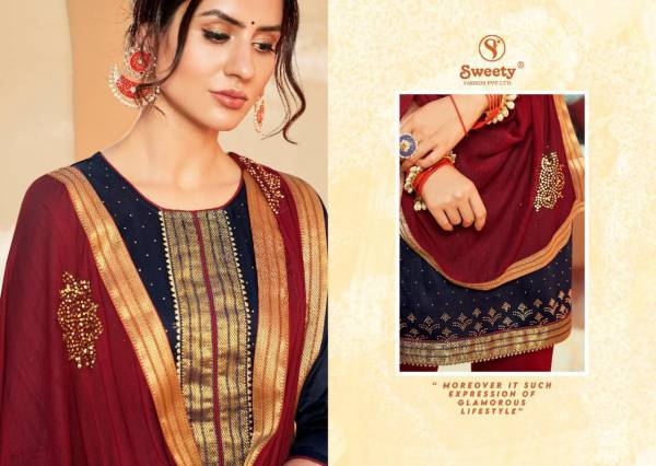 SWEETY FASHION URVASHI -NX Latest Fancy Designer Festive Wear Jam Satin With Heavy Swarovski jacquard Border Salwar Suit Collection
