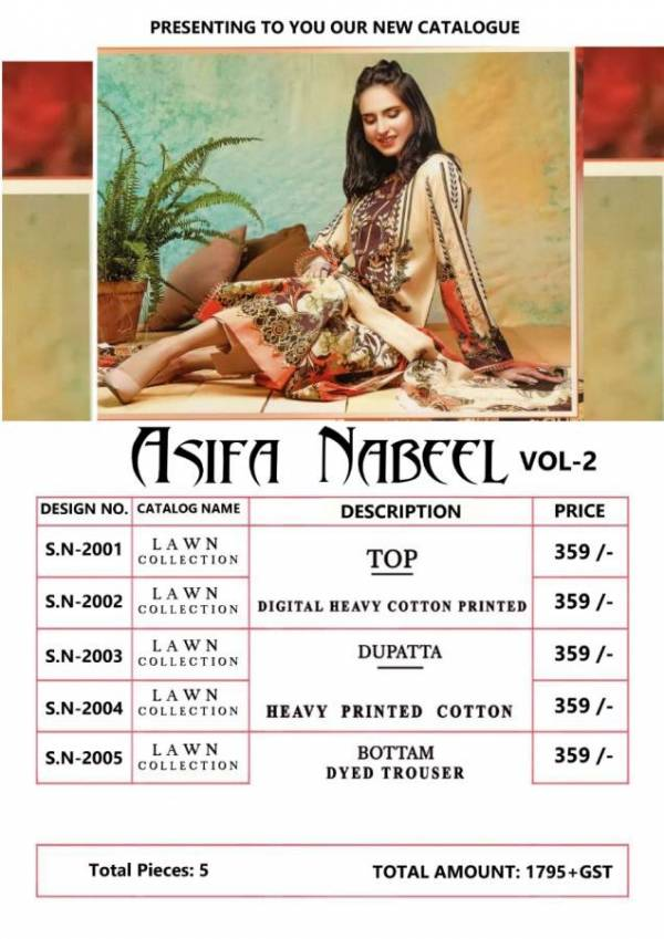 Asifa Nabeel 2 Latest Designer Party Wear Printed Heavy Lawn Cotton Dress Material
