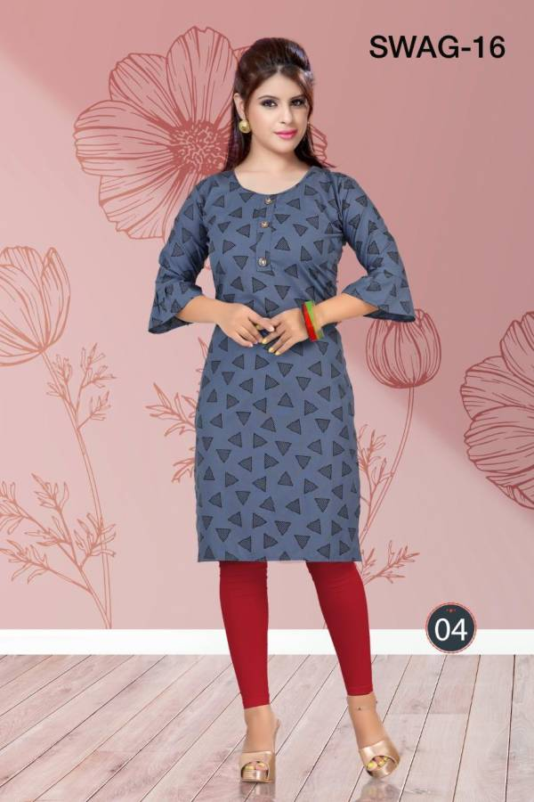 Trendy Swag 16 Casual Daily Wear Rayon Printed Kurtis Collection