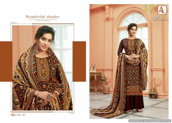 Alok Vrindaa Pure Ready Made Wool Pashmina Digital Print with Swarovski Diamond Work Plazzo Suit Collection