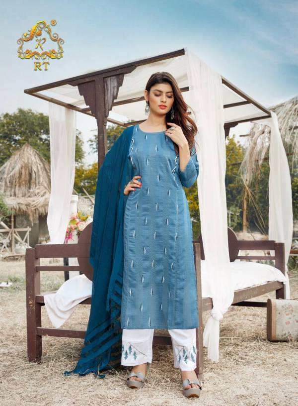 RT VASANT Latest Ethnic Wear Embroidery And Block Print Jari Lining With Full Inner Kurti With Bottom Collection