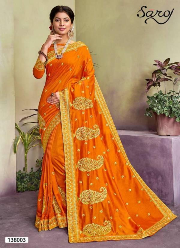 SAROJ  SUDHA Latest Fancy Designer Wedding Wear Vichitra Silk with Heavy Embroidery and Diamonds work Saree Collection
