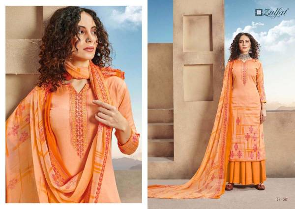 REVAA Special Designer Collection 100% Pure Heavy Jam Cotton Digital Style Print with Matt Swarovsky Work with Pure Nazneen Dupatta Zulfat Designer Suits Collections