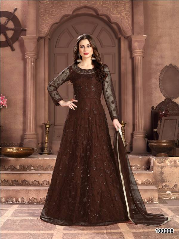 Aanaya 100 Colors 2 Latest Designer Wedding Gown Style Salwar Suit Collection Full Embroidered Work On Net With Four Sided Bordered Net Duptta