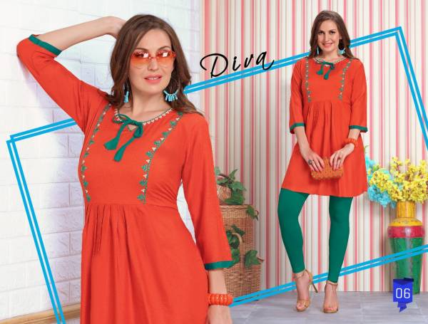 Trendy Fiza 4 fancy designer Casual Regular Wear Heavy Rayon Short Kurtis Collection
