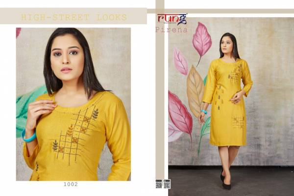 Rung Pirena Latest Designer Rayon Party Wear Kurti Collection